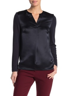 Calvin Klein Split Neck Long Sleeve Blouse