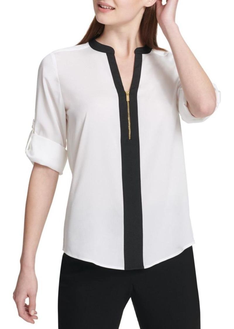 Calvin Klein Split Neck Roll-Sleeve Top