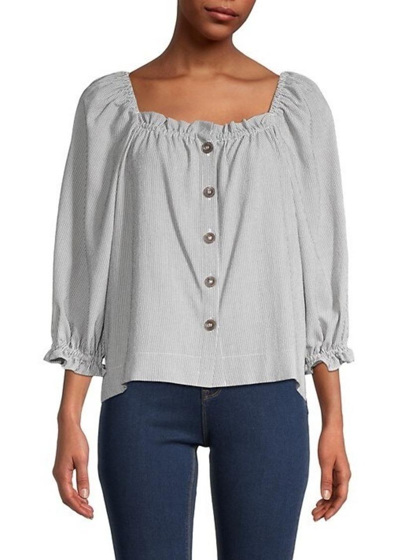 Calvin Klein Squareneck Button-Down Top