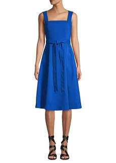Calvin Klein Squareneck Cotton Fit-&-Flare Dress