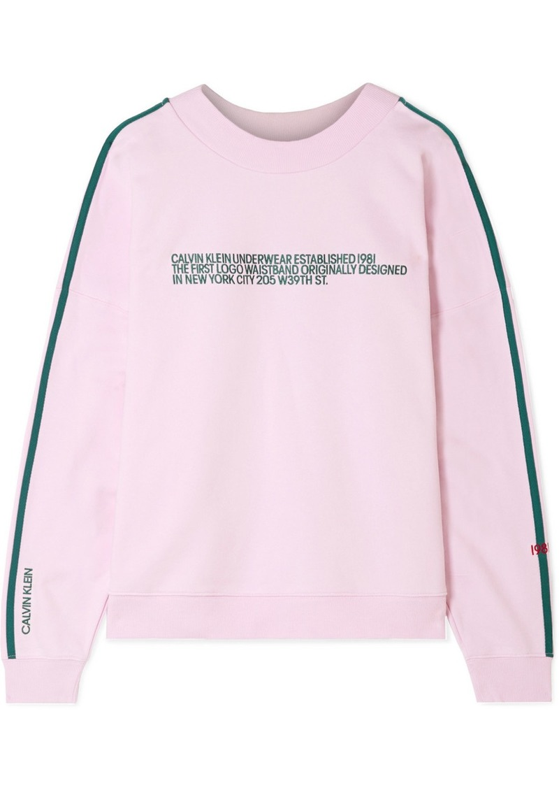 Calvin Klein Statement 1981 Embroidered Cotton-blend Jersey Sweatshirt