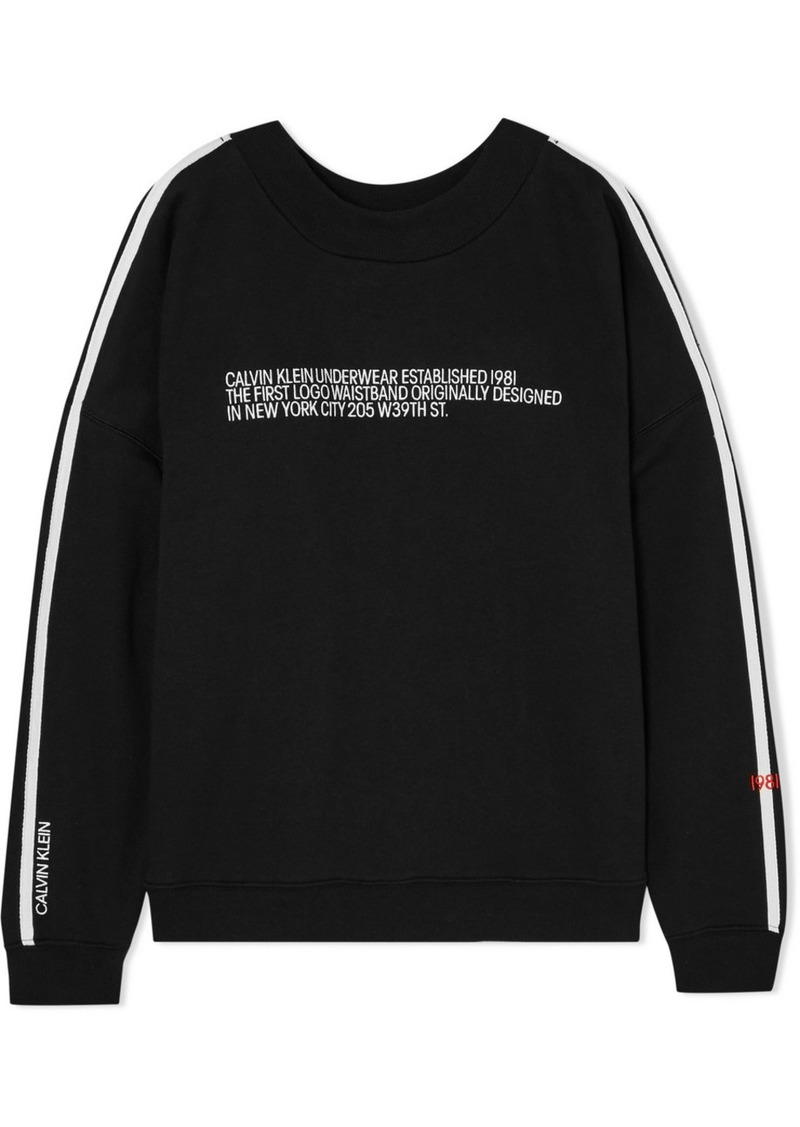 Calvin Klein Statement 1981 Embroidered Cotton-blend Jersey Sweatshirt