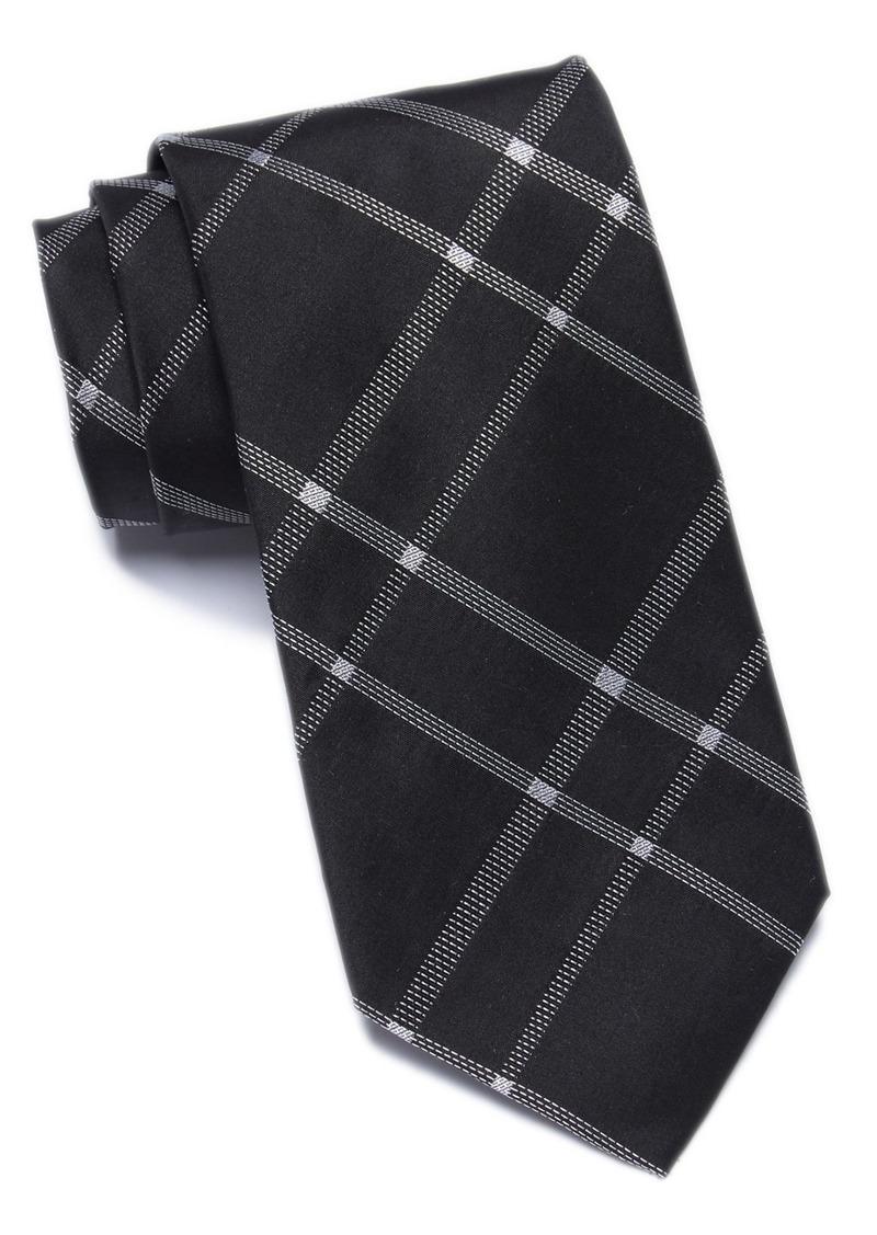 Calvin Klein Stitch Plaid Silk Tie