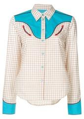 Calvin Klein stitched grid cowboy shirt