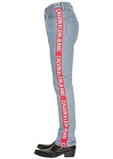 Calvin Klein Straight Leg Logo Tape Denim Jeans