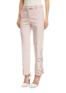 Calvin Klein Straight-Leg Pants with Embroidered Hem