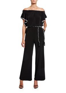 Calvin Klein Strapless Jumpsuit w/ Braided Belt
