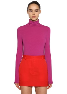 Calvin Klein Stretch Cotton Jersey Turtleneck Top