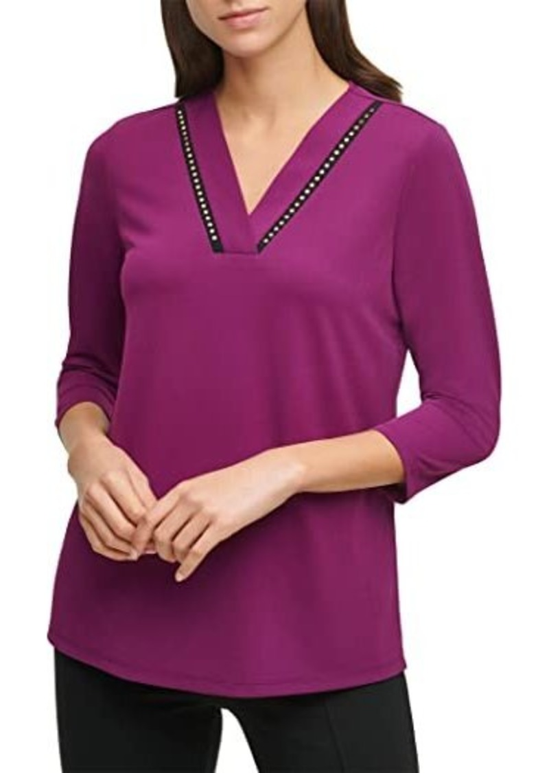 Calvin Klein Stretch Crepe V-Neck Blouse with Studs