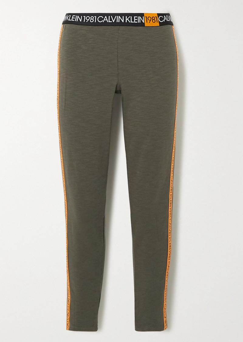 Calvin Klein Striped Cotton-blend Jersey Leggings