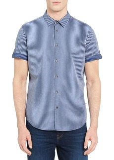 Calvin Klein Striped Cotton Button-Down Shirt