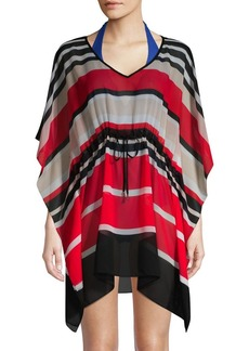 Calvin Klein Striped Drawstring Cover-Up