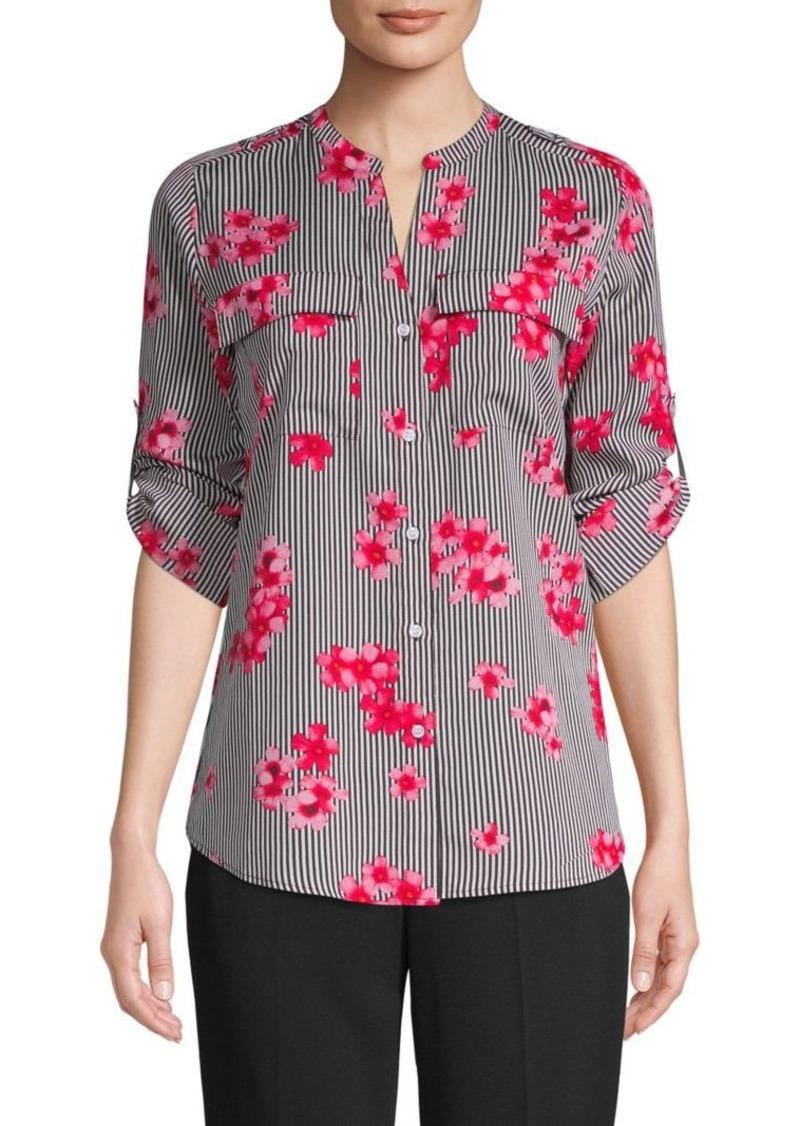 Calvin Klein Striped Floral Blouse