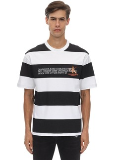 Calvin Klein Striped Logo Printed Cotton T-shirt