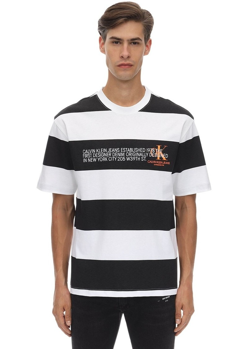 Calvin Klein Striped Logo Printed Cotton T-shirt