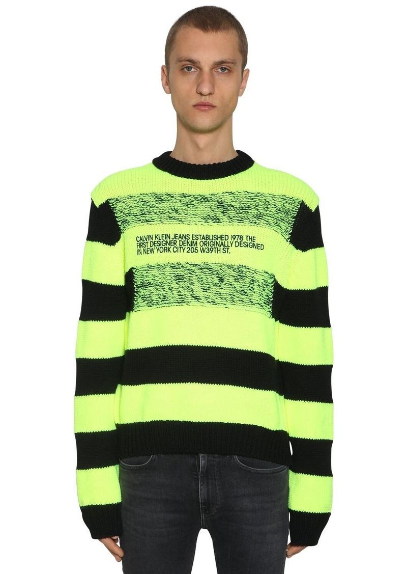 Calvin Klein Striped Logo Wool Blend Intarsia Sweater