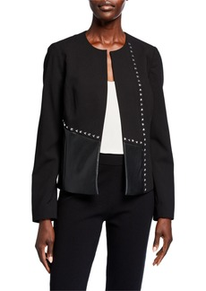 Calvin Klein Studded Faux Leather Panel Jacket