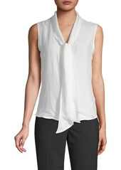 Calvin Klein Textured Tie-Neck Top