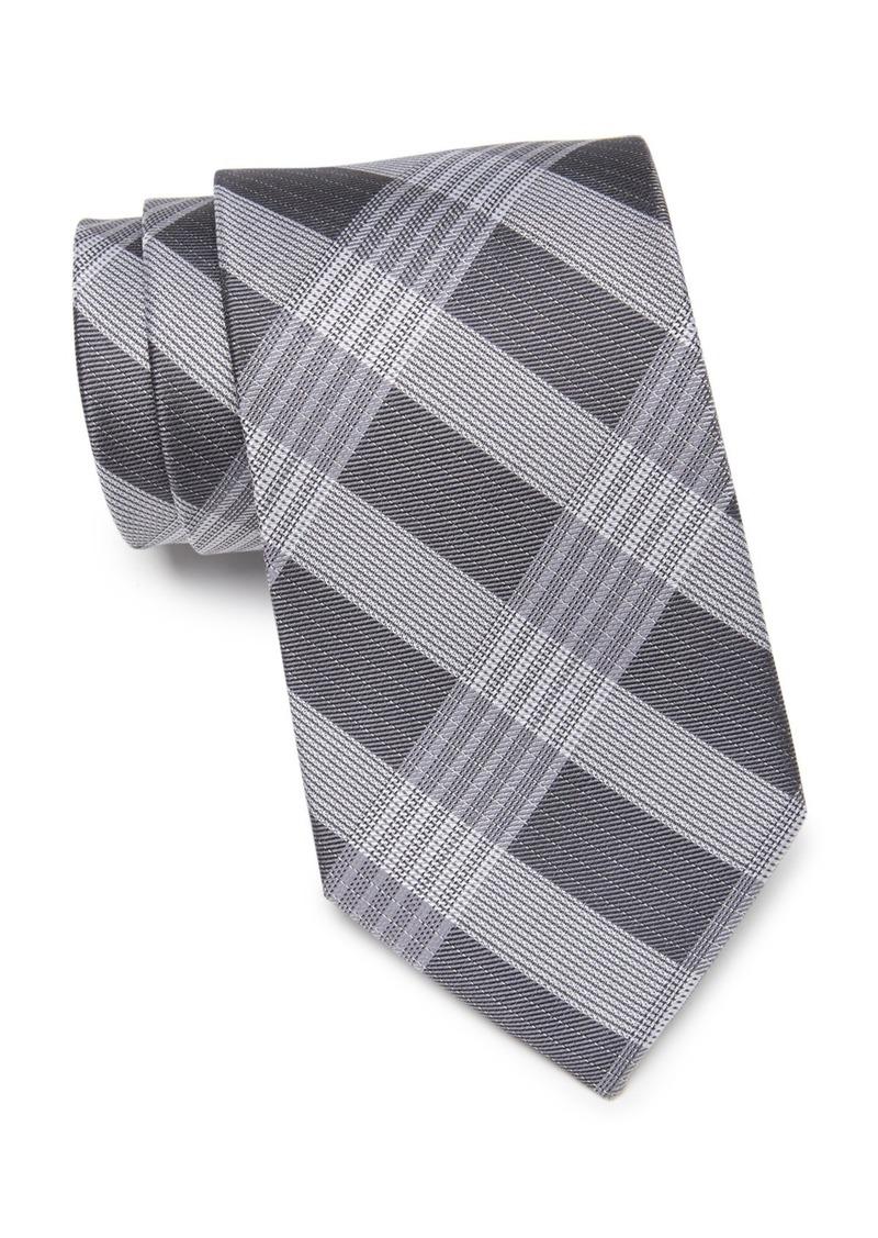 Calvin Klein Thick Semi Contrast Plaid Silk Tie