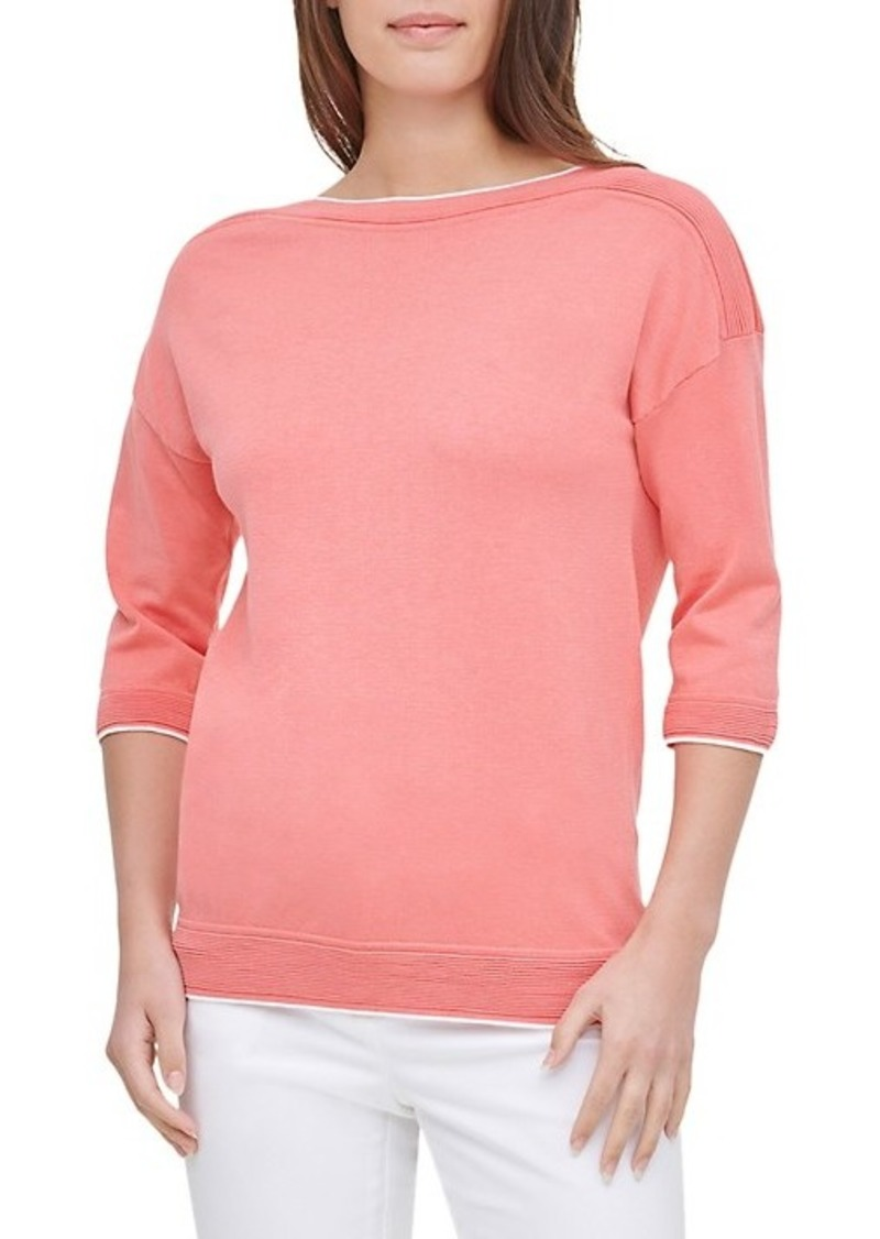 Calvin Klein Three-Quarter Sleeve Boatneck Top