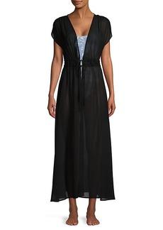 Calvin Klein Tie-Waist Cap-Sleeve Coverup