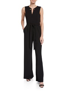 Calvin Klein Toggle Chain Neck Wide-Leg Jumpsuit