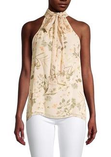 Calvin Klein Tropical-Print Sleeveless Blouse
