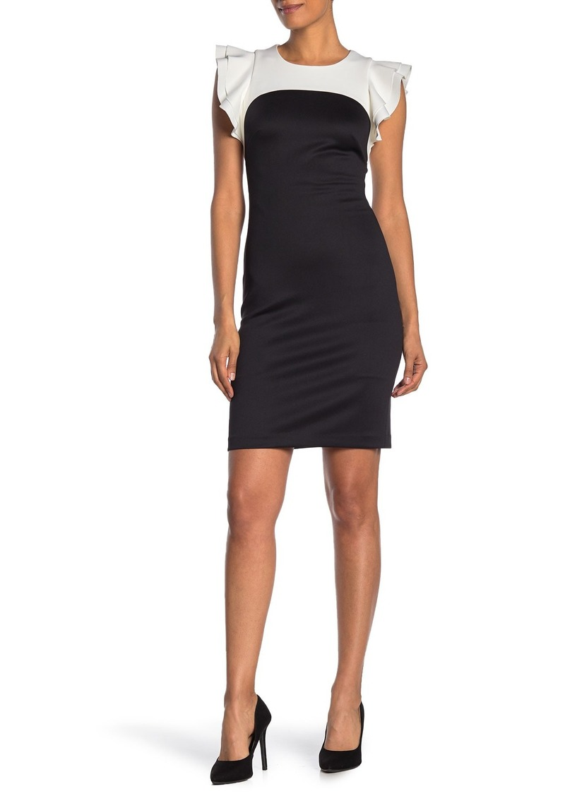 Tommy Hilfiger Two-Tone Flutter Sleeve Sheath Dress