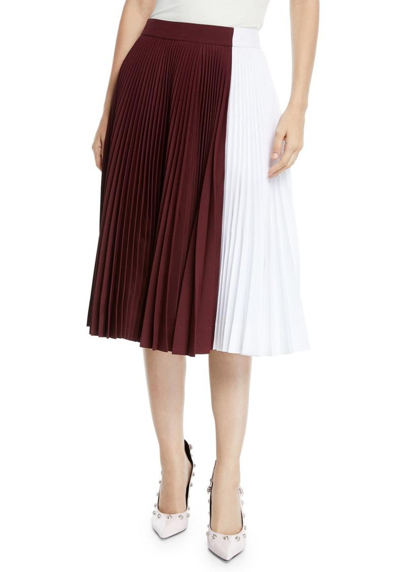 Calvin Klein Two-Tone Pleated Midi Circle Skirt