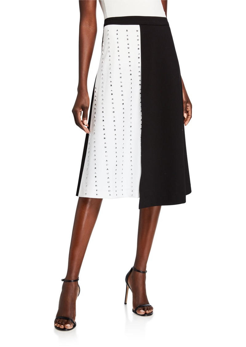 Calvin Klein Two-Tone Studded A-Line Skirt