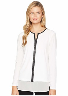 Calvin Klein Twofer w/ Faux Leather Trim Top