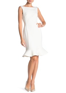 Calvin Klein V-Back Godet Flared Hem Midi Dress