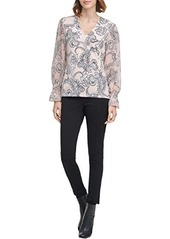 Calvin Klein V-Neck Blouse with Ruffle Sleeves