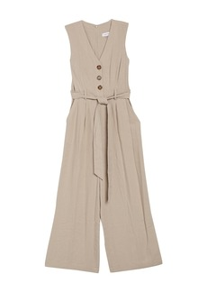 Calvin Klein V-Neck Button Down Jumpsuit