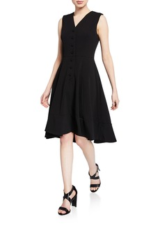Calvin Klein V-Neck Button-Front Sleeveless High-Low Midi Dress