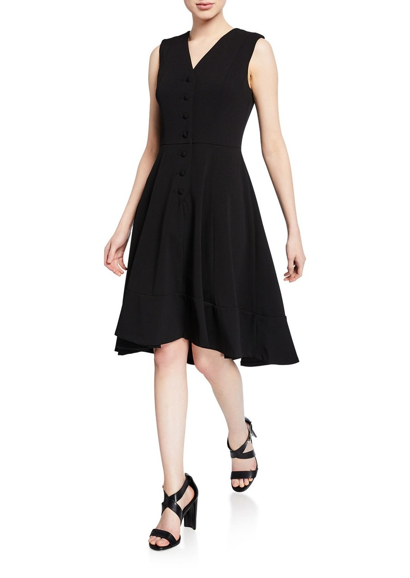 Calvin Klein V-Neck Button-Front Sleeveless High-Low Midi Dress