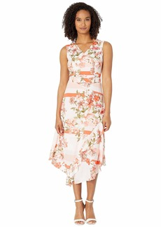 Calvin Klein V-Neck Dress w/ Belt & Ruffle