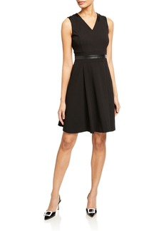 Calvin Klein V-Neck Fit-and-Flare Dress with Pleather Trim