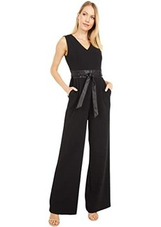 Calvin Klein V-Neck Jumpsuit with Faux Leather Waist and Belt