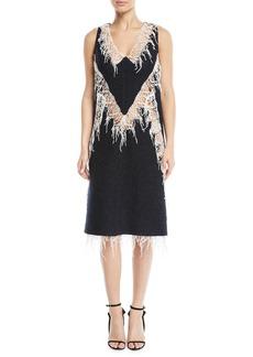 Calvin Klein V-Neck Sleeveless Wool Boucle Dress w/ Popcorn Lace Trim