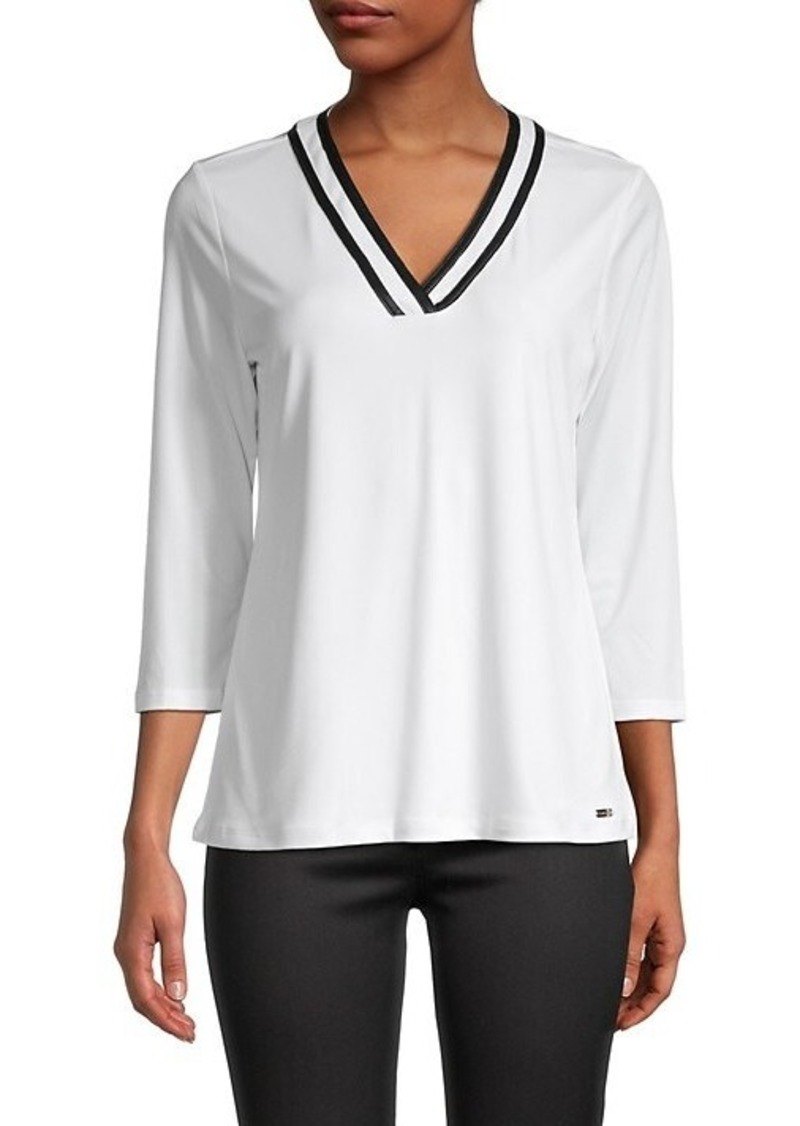 Calvin Klein V-Neck Three Quarter-Sleeve Top
