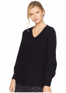 Calvin Klein V-Neck with Poetic Stitch Sleeve Sweater