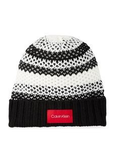 Calvin Klein Waffle Knit Striped Beanie