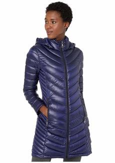 Calvin Klein Walker Length Packable with Chevron Quilt Lines