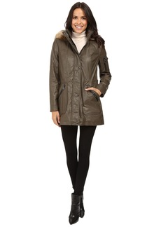 Calvin Klein Waxy Rain Anorak with Detachable Faux Fur Hood