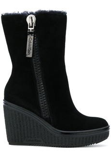 Calvin Klein wedge zip boots