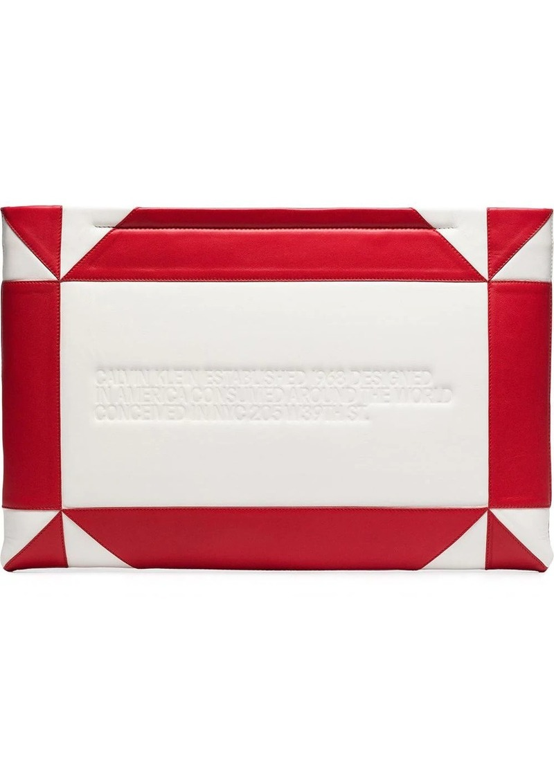 Calvin Klein white and red logo embossed geometric leather clutch