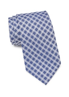 Calvin Klein White Denim Grid Tie