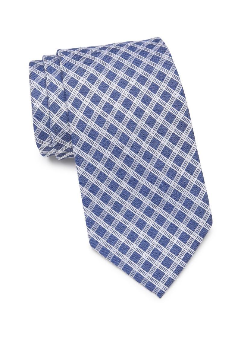Calvin Klein White Denim Grid Tie