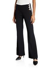 Calvin Klein Wide-Leg Pants W Contrast Button